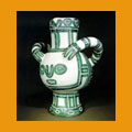 453. Large green bird vase
